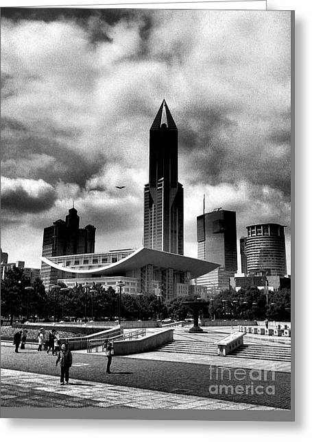 Landscape Framed Prints Greeting Cards - Shanghai Peoples Square  Greeting Card by Wei Jia