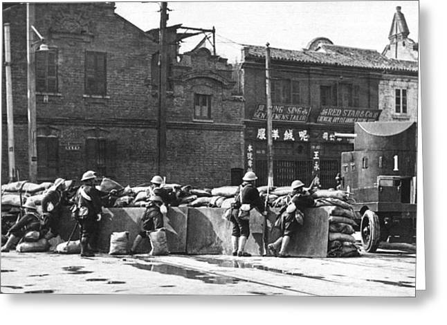 Cooperation Greeting Cards - Shanghai Road Barricade Greeting Card by Underwood Archives