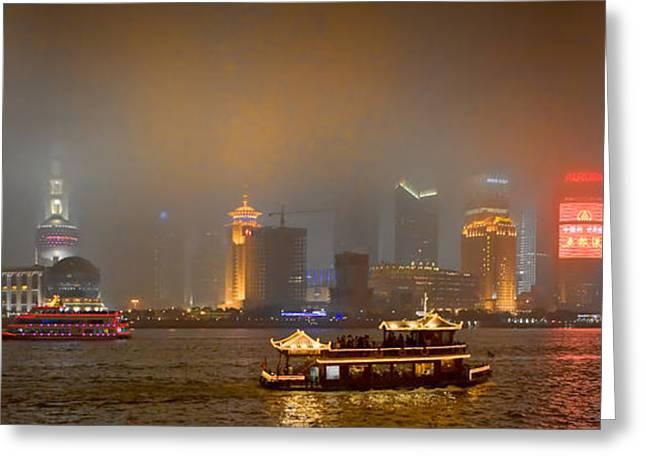 Shanghai China Greeting Cards - Shanghai Skyline at Night Greeting Card by James Dricker