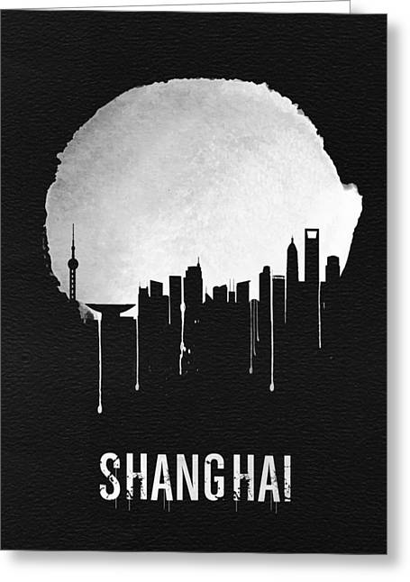 Shanghai Skyline Black Greeting Card by Naxart Studio