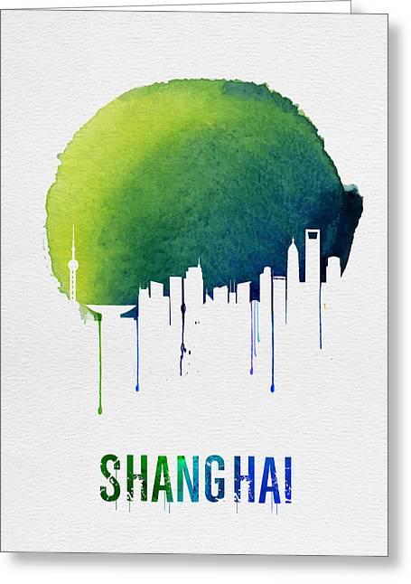 Shanghai Skyline Blue Greeting Card by Naxart Studio