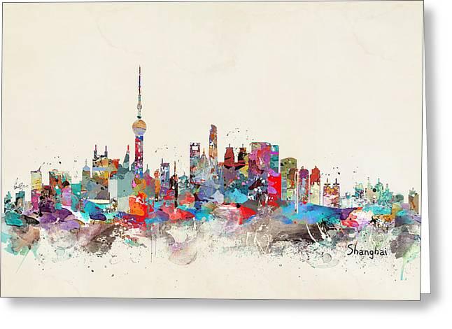 Throw Digital Greeting Cards - Shanghai Skyline Greeting Card by Bri Buckley