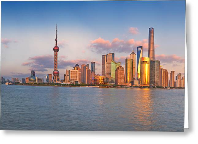 Bund Shanghai Greeting Cards - Shanghai Skyline  Greeting Card by Ulrich Schade