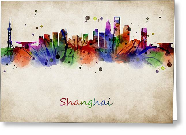 Abstract Digital Art Greeting Cards - Shanghai watercolor skyline Greeting Card by Mihaela Pater