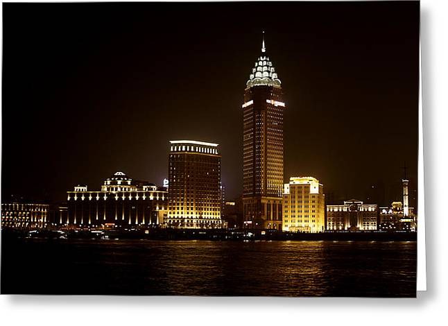 Spires Greeting Cards - Shanghais Bund is back to its best Greeting Card by Christine Till