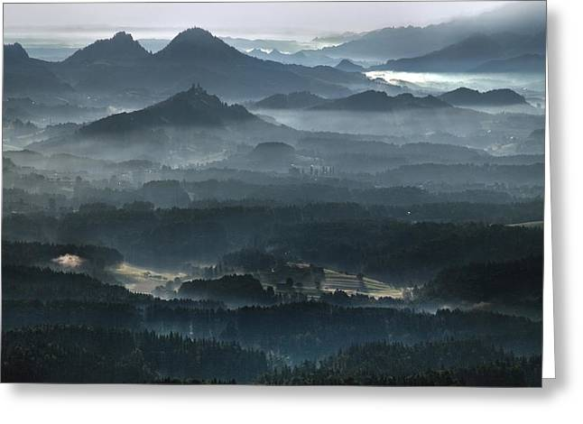 Morning Mist Greeting Cards - Shangri-la Greeting Card by Matjaz Cater
