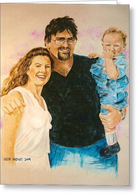 Wife Pastels Greeting Cards - Shannon Carrie and Tommy Greeting Card by Larry Whitler