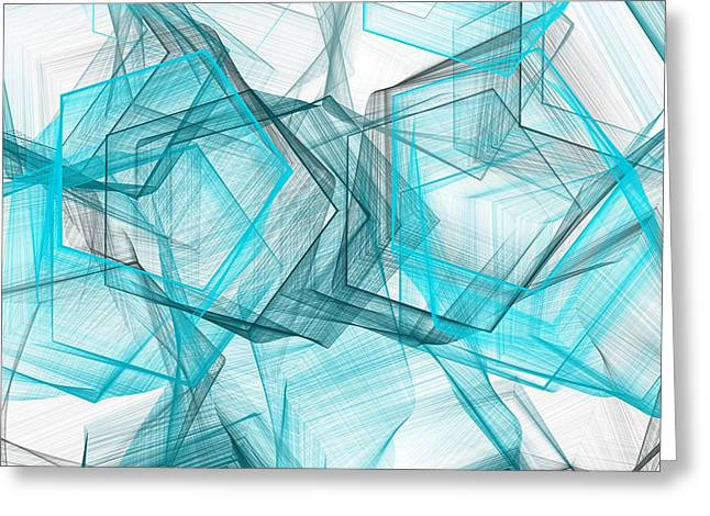 Blue Abstracts Greeting Cards - Shapes Galore Greeting Card by Lourry Legarde