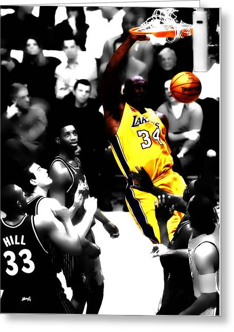 Nba All Star Game Greeting Cards - Shaq Monster Slam Greeting Card by Brian Reaves