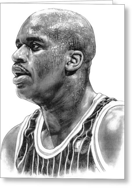 Los Angeles Drawings Greeting Cards - Shaq ONeal Greeting Card by Harry West