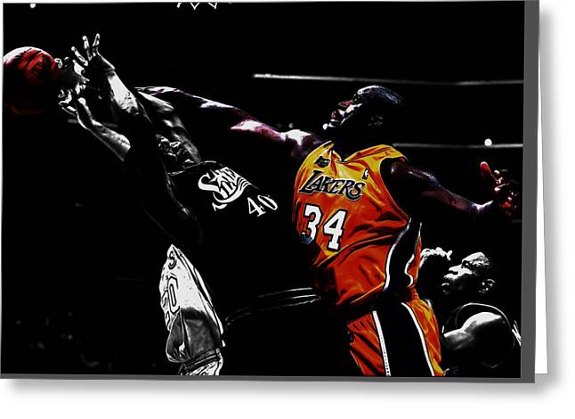 Shaq Protecting The Paint Greeting Card by Brian Reaves