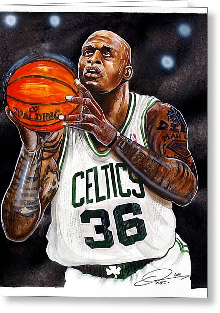 Celtics Basketball Greeting Cards - Shaquille Oneal Greeting Card by Dave Olsen