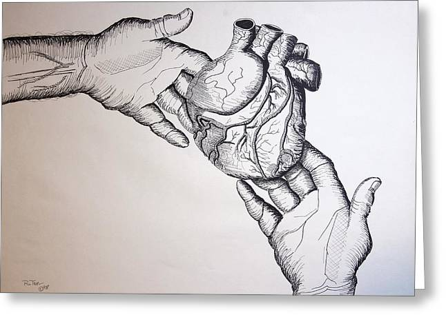 Pencil On Canvas Greeting Cards - Share Heart Greeting Card by Ru Tover