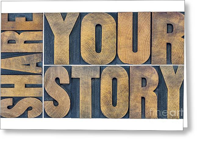 Share Your Story Word Abstract Greeting Card by Marek Uliasz