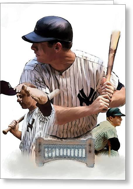 Athletes Drawings Greeting Cards - Shared Legacy Mickey Mantle Greeting Card by Iconic Images Art Gallery David Pucciarelli