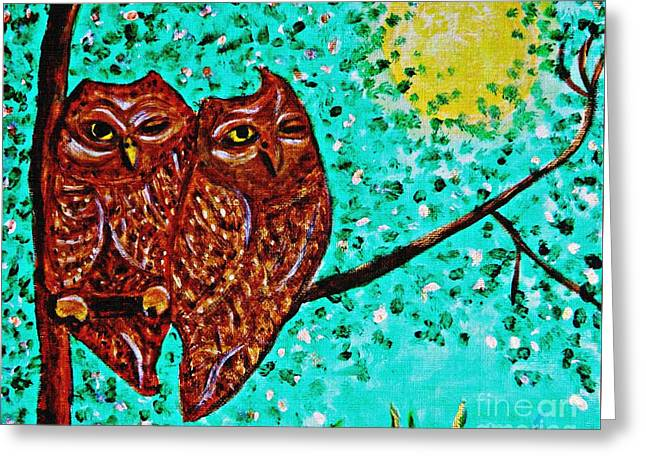 Fanciful Paintings Greeting Cards - Shared Moonlight Detail Greeting Card by Sarah Loft