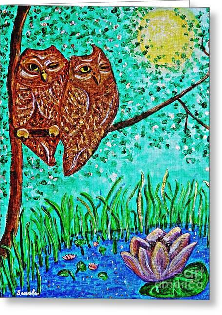 Sarah Loft Paintings Greeting Cards - Shared Moonlight Greeting Card by Sarah Loft