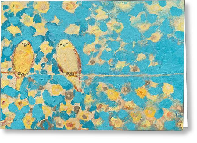 Sparrow Paintings Greeting Cards - Sharing a Sunny Perch Greeting Card by Jennifer Lommers