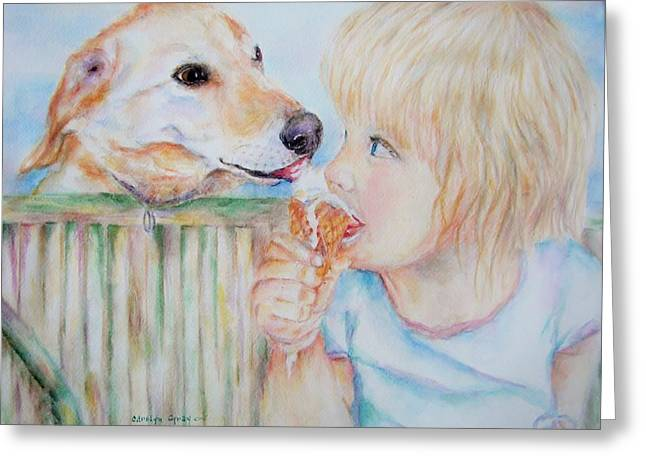 Licking Ice Cream Greeting Cards - Sharing Greeting Card by Carolyn Gray