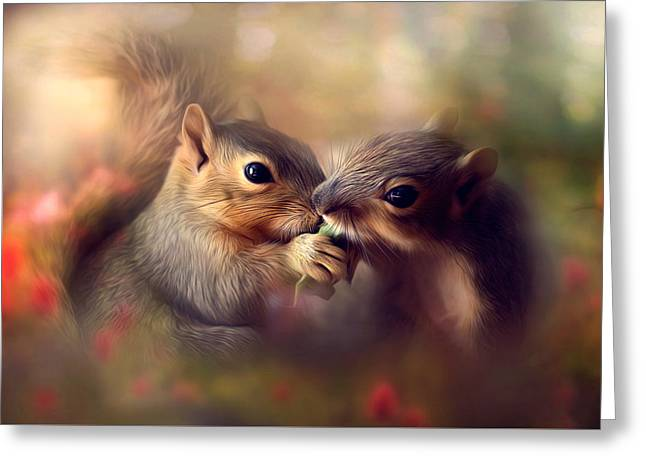 Fox Squirrel Greeting Cards - Sharing Greeting Card by Tammy  Gross