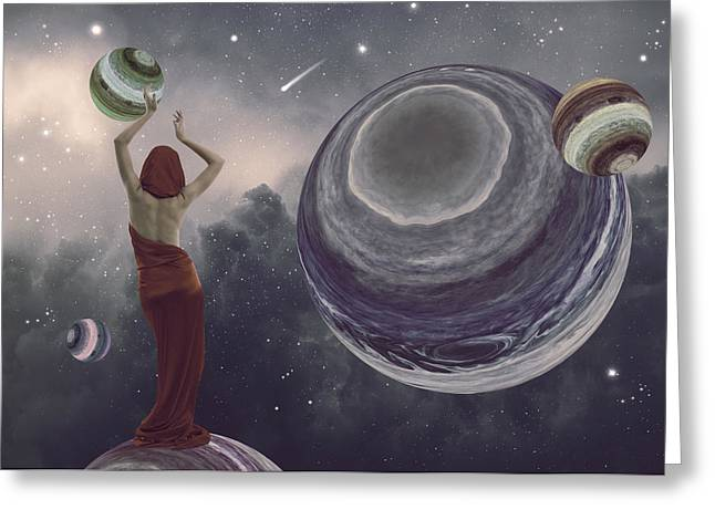 Floating Girl Greeting Cards - Sharing the planets Greeting Card by Mihaela Pater