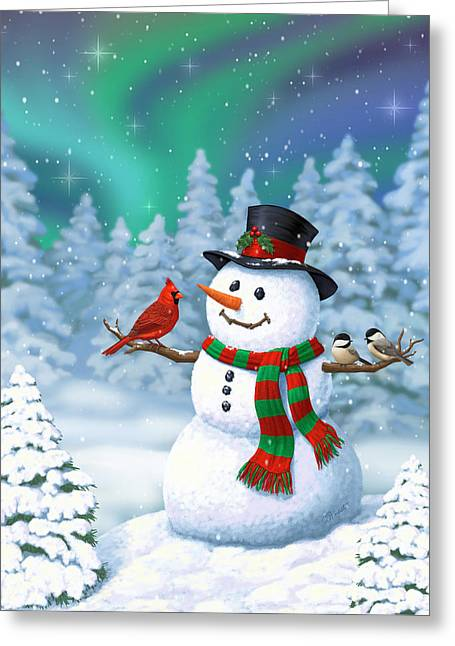 Sharing The Wonder - Christmas Snowman And Birds Greeting Card by Crista Forest