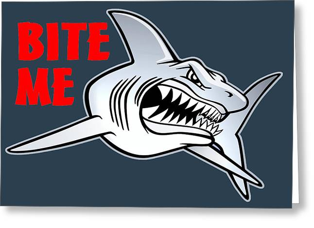 White Shark Drawings Greeting Cards - Shark Bite dark Greeting Card by Terry Jelcick