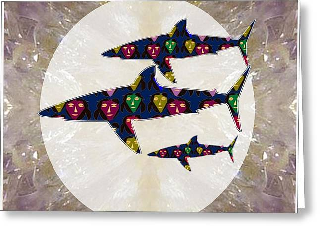 Shark Fish Dangerous Painted Cartoon Face Link For Download Option Below Personal N Commercial Uses Greeting Card by Navin Joshi