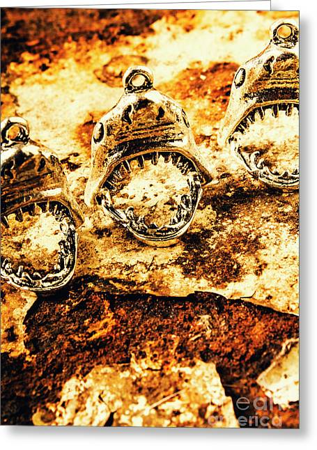 Shark Pendants On Rusty Marine Background Greeting Card by Jorgo Photography - Wall Art Gallery