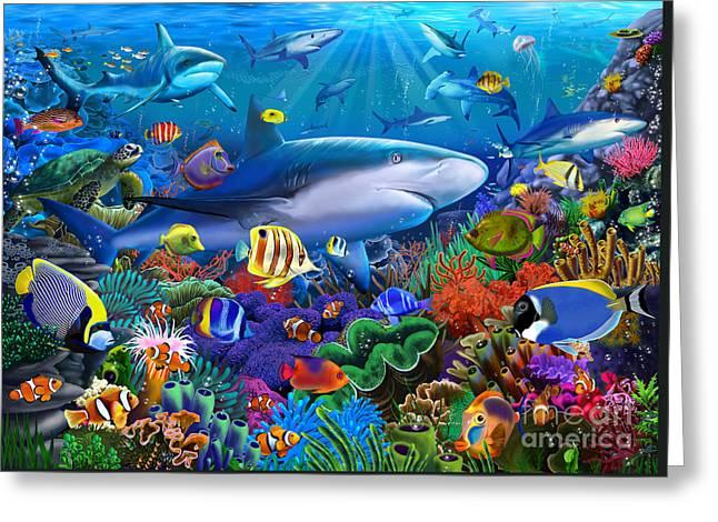 Shark Reef Greeting Card by Gerald Newton