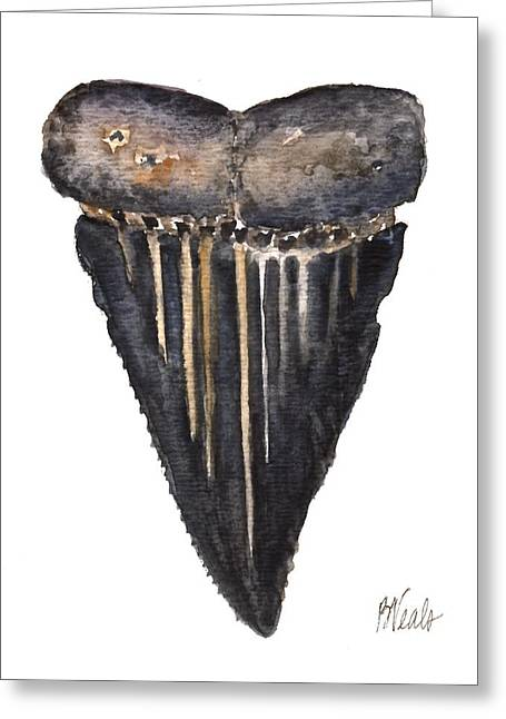 Shark Fossil Teeth Greeting Cards - Shark Tooth Greeting Card by Bev Veals