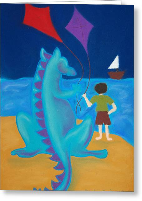 Kites Pastels Greeting Cards - Sharlie with Kites Greeting Card by Christine Crosby