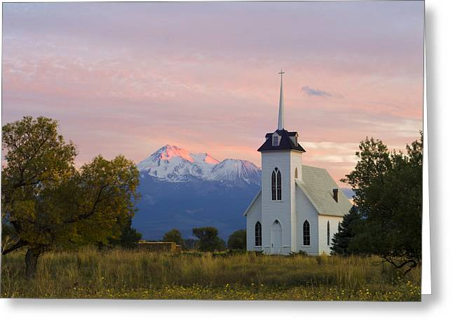 Shasta Alpenglow With Historic Church Greeting Card by Loree Johnson