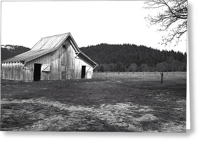 White Barns Greeting Cards - Shasta Barn Greeting Card by Kathy Yates