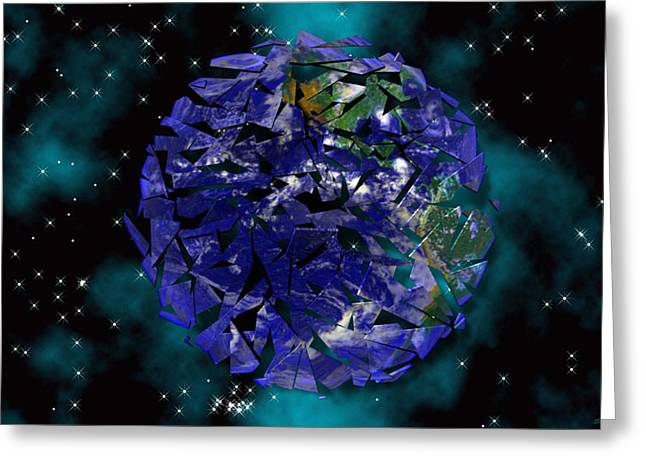 Earth Mixed Media Greeting Cards - Shattered World Greeting Card by Evelyn Patrick