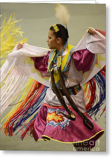 Fancy-dancer Greeting Cards - Pow Wow Shawl Dancer 4 Greeting Card by Bob Christopher