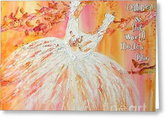 Tutu Mixed Media Greeting Cards - She Danced Greeting Card by Donna Martin