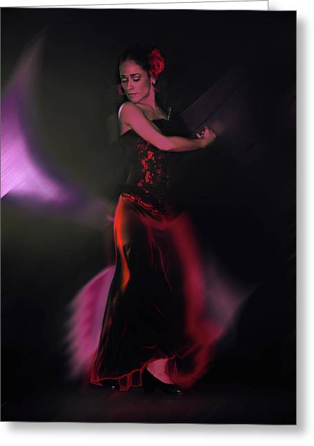 Spanish Dancer Greeting Cards - She Dances for Love Greeting Card by Jeff Burgess