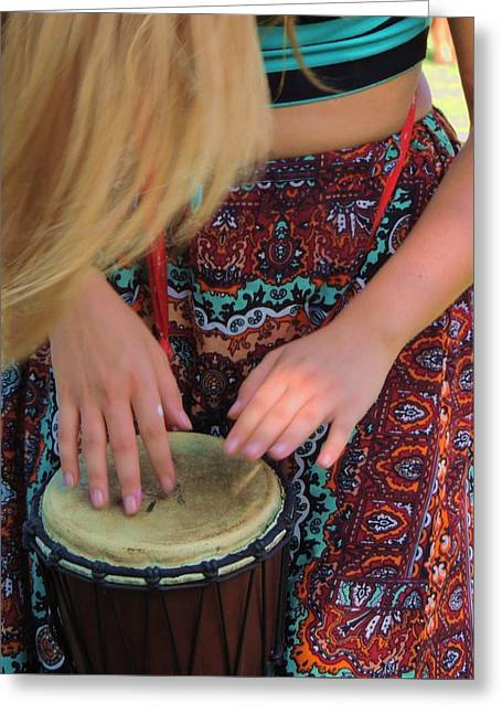Woman Drumming Greeting Cards - She Drums Greeting Card by Vince Green