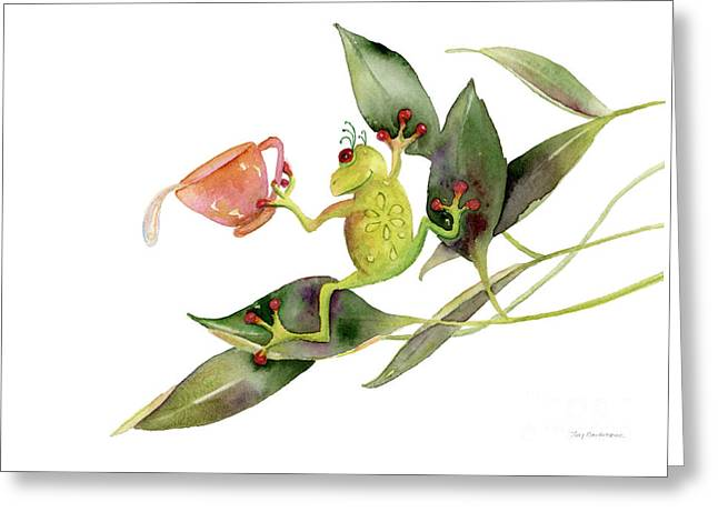 Stylized Paintings Greeting Cards - She Frog Greeting Card by Amy Kirkpatrick