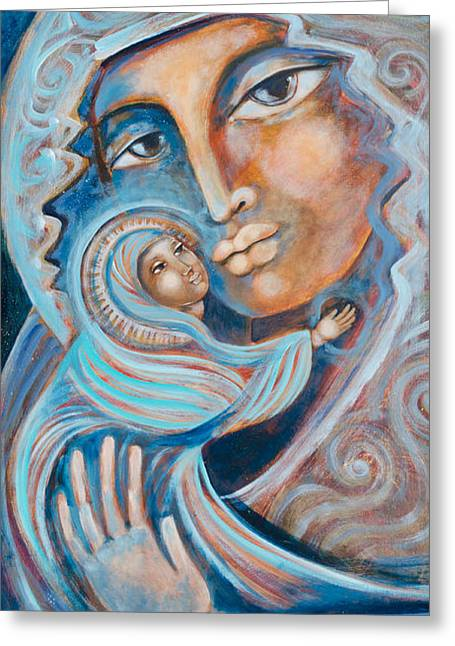 Blessed Mother Greeting Cards - She Holds Love in Her Arms Greeting Card by Shiloh Sophia McCloud