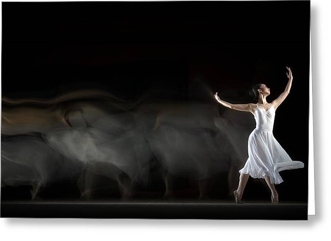 "Dancer Photographs Greeting Cards - She ""in Motion"" Greeting Card by Andre Arment"