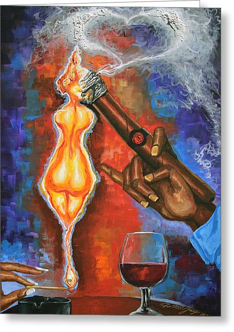 Table Greeting Cards - She Lights His Fire Greeting Card by The Art of DionJa