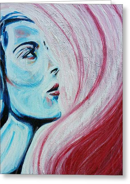 White Paintings Greeting Cards - She likes blue  Greeting Card by Pedro  Flores