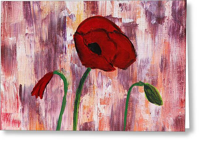 Moving Petals Greeting Cards - She Loved Red Poppies Greeting Card by Lynn-Marie Gildersleeve