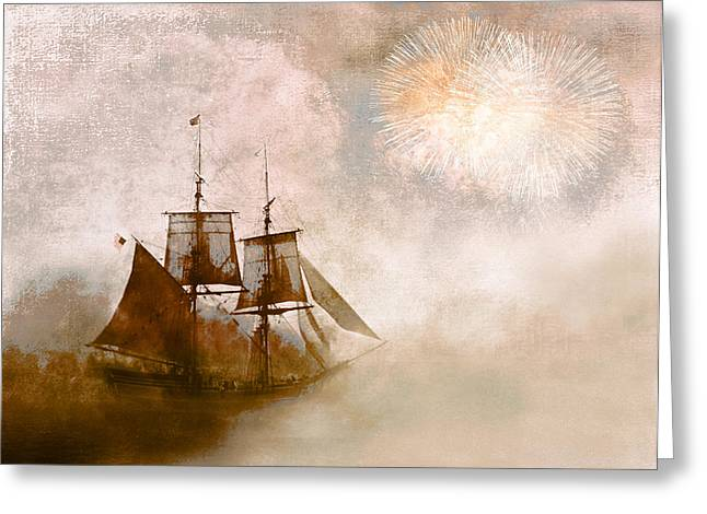 Tall Ships Greeting Cards - She Returns Home Greeting Card by Jeff Burgess