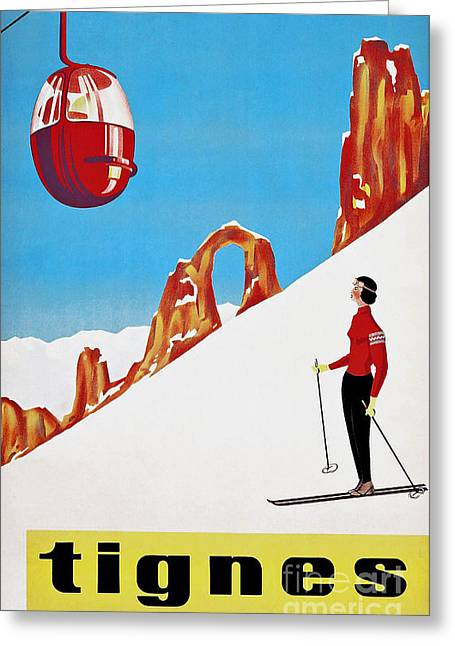 She Skis Alone Snow Skiing Greeting Card by Tina Lavoie