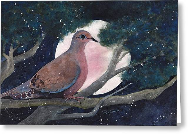 Birds Moon Greeting Cards - She Waits Greeting Card by Susy Soulies
