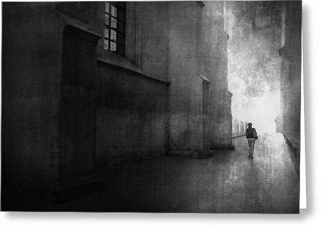 Street Photographs Greeting Cards - She Walked Greeting Card by Radovan Skohel