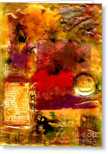 Wax Mixed Media Greeting Cards - She Wants Gold for Her Cherries Greeting Card by Angela L Walker